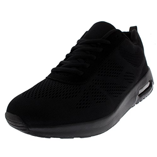 Womens Cushioned Running Walking Sports Fitness Gym Athletic Trainers - Black/Black -...