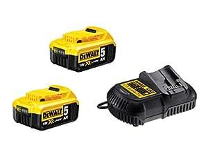 DeWalt DCB105P2-QW Kit de démarrage sur batterie 18 V, 5,0 Ah