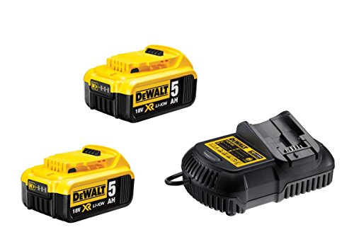 DeWalt Akku Set DCB115P2-QW mit Ladegerät für alle 18,0 Volt XR Akku-Maschinen - 2x Lithium Akku, 1x Schnellladegerät für XR-Akkus - Lädt DeWalt XR Akkus von 10,8 bis 18,0 V - LED-Ladeanzeige (Lithium-ionen-akku 18v Dewalt)