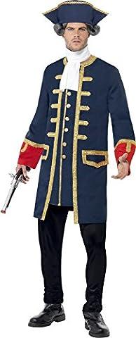 Smiffys, Herren Piraten-Kommandant Kostüm, Mantel und Hut, Größe: L, 24168