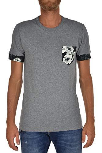 Dolce&Gabbana T-Shirt Flowers Herren - Größe: 44 - Farbe: Grau - Neu