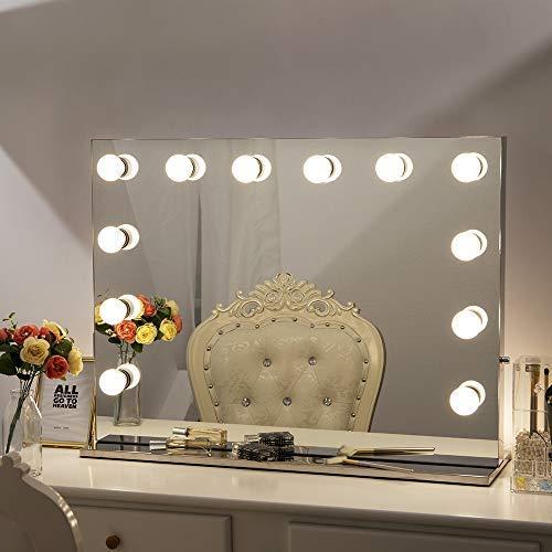 Chende Miroir de Maquillage Lumineux à Luminosité Réglable pour Cosmétique + 14 Ampoules LED Gratuites (L80 x H60 cm)
