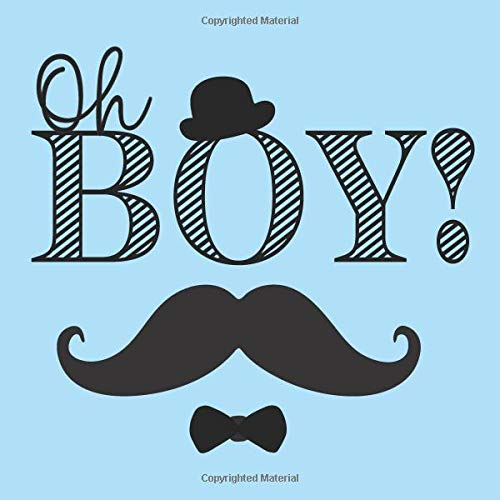 Oh Boy!: Baby Shower Guest Book + BONUS Gift Tracker Log and Keepsake Pages | Blue Black Mustache Hat Bow Tie Boys Bow Tie