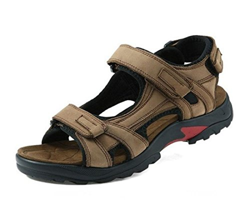 Men's Top Quality Outdoor Genuine Leather Sandals Kaki