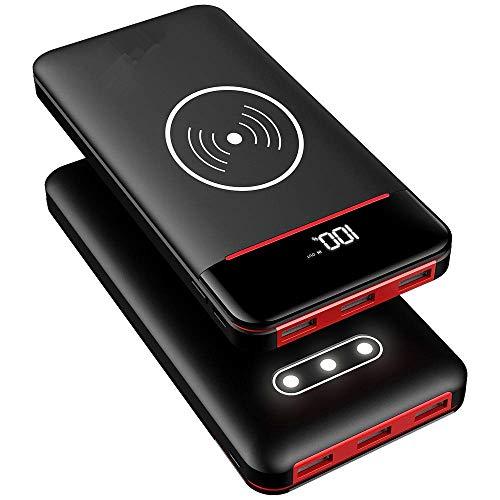 Rleron power bank wireless 25000mah caricabatterie portatile con 3 luce a led,3 porte e 2 ingressi (usb cµ) batteria esterna per smartphones, tablet e altri