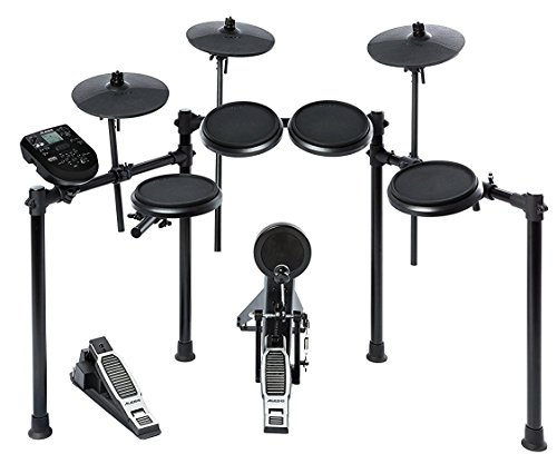 Alesis Nitro Kit, Elektronisches Schlagzeug e-Drum Set mit 8 Drum Pads, dual zone Snare, USB MIDI Drum Modul mit 385 Percussion Sounds, Kick und Hi-Hat Pedalen und Drum Sticks Professional Drum Kit