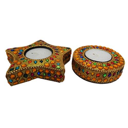 artesanal soporte de luz juego de té decorativo moldeado de aluminio mesa de material de primera estrella de vela titular de la forma redonda ligera de té de oro con el conjunto de la cera de 2 piezas artículo de regalo