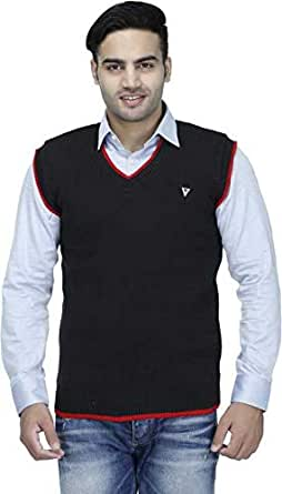 "Super weston Sleeveless Slim Fit Sweater for Men,100% Wool Sweater,Colour and Size Choose According 6 Colour Available M=38"",L=40"",XL=42"" (Black, Small)"