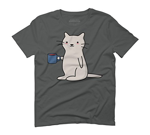 Cute Coffee Cat Men's Graphic T-Shirt - Design By Humans Anthracite