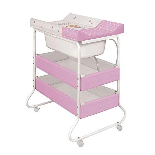 Lorelli Wickeltisch und Babybadewanne 2 in 1 Wickelkommode mit zwei Regalfächer rosa