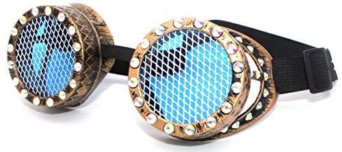 4sold TM Steampunk Black Cyber Goggles Rave Gothic Vintage Viktorianischer Stil, Damen, b-1, Diamond Gold Sti, - Viktorianischen Stil Kostüm