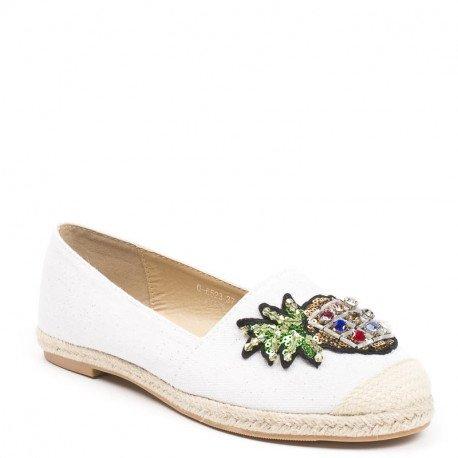 Ideal Shoes - Espadrilles en toile pailletée avec ananas incrusté de strass Helisa Blanc