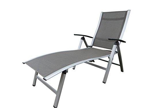 Pure Home & Garden Extra hohe Luxus Aluminium Gartenliege NOX Silber, klappbar und mehrfach verstellbar