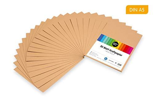 perfect ideaz 50 Blatt DIN-A5 Kraft-Papier-Set, 120g /m², Bedruckbar, Bastel-Bogen in braun, Vintage-Natur-Paper in Karton-Optik, Zubehör zum Basteln für Falt-, Speise- und Menü-Karten, Craft-Bedarf