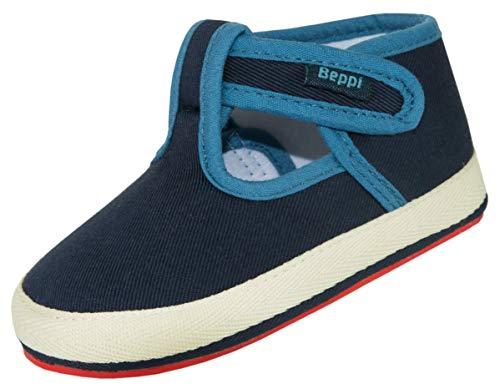 Beppi Kinderschuhe für Babys ab 7 Monaten - Weiche Lauf- und Krabbelschuhe, Blau, Gr. 18 (Boys Kleinkind Sneakers Größe 6)