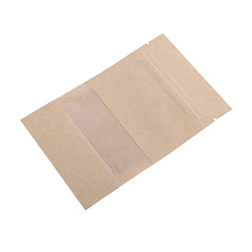 20Stück Zip Lock braun Kraftpapier verschließbare Stand Up Nahrungsmittel Aufbewahrung Beuteln mit Fenster für Süßigkeiten, Kaffeebohnen Muttern