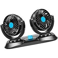 non-brand Sharplace Ventilador de Aire de Enfriamiento de Doble Cabeza de 12 Voltios 360