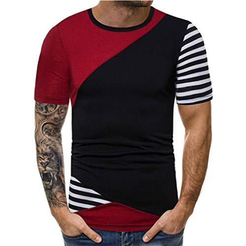 kolila Herren Casual T-Shirts unregelmäßigen gestreiften Patchwork Stitching Kurzarm Tops Sommer Slim T-Shirt für ()