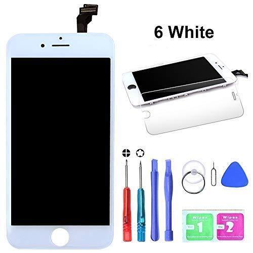 HTECHY Kompatible with iPhone 6 Display Ersatz Set Weiß,eine illustrierten Reparaturanleitung & Komplettes Kostenlose Werkzeug-Einfache Installation für Do-It-Yourself