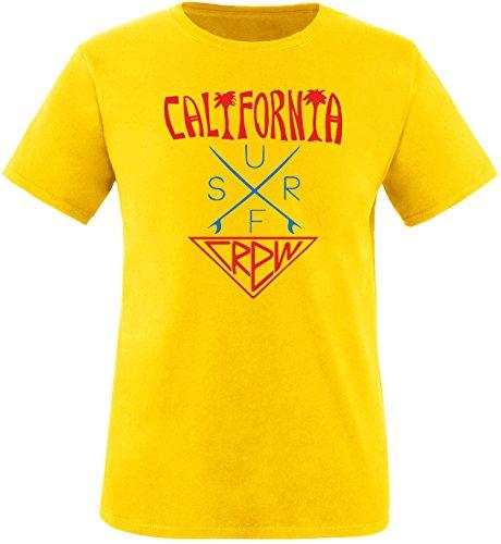 EZYshirt® California Surf Crew Herren Rundhals T-Shirt Gelb/Rot/Blau