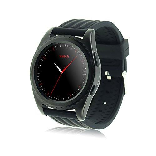 Smart Watch, Jiazy Pulsmesser, Wireless Fitness Tracker, ID107 Bluetooth 4.0 Touch Screen Smart MTK2502 Chipset Kompatibel Android und iOS-(Schwarz)