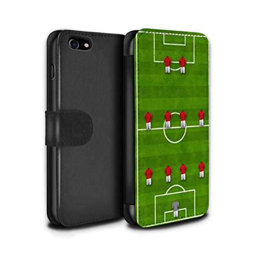 Stuff4 Coque/Etui/Housse Cuir PU Case/Cover pour Apple iPhone 7 / 4-4-2/Rouge Design / Formation Football Collection 4-4-2/Rouge