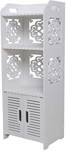 Hollylife Mueble del Cuarto de Baño, Armario para Baño Dormitorio, Estanterías Impermeable, Anti-Moho y Humedad, 2 Estantes y 1 Puerta. 80x30x22cm, Blanco