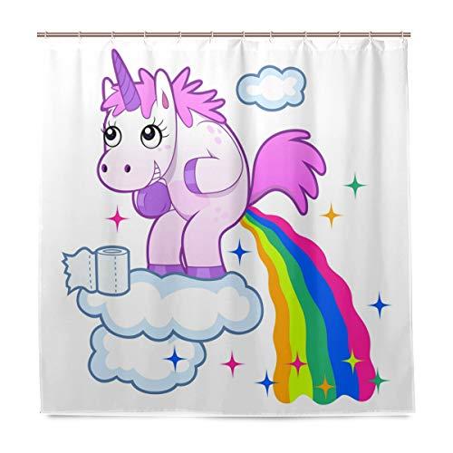 Wamika Lächelndes Einhorn Pooping Regenbogen Badezimmer Duschvorhang Liner, Cartoon Pferd Design...