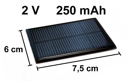 Solarzelle 2V 250mAh NEU Solar Zelle Solarmodul 7,5cm x 6cm Mini Panel