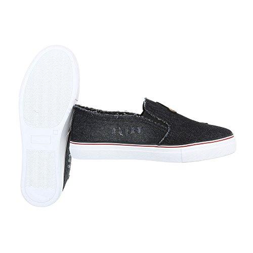 Ital-Design - Pantofole Donna Schwarz 376