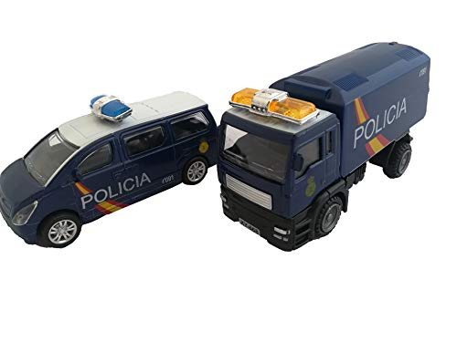 LCQI Coche Policia Nacional Guardia Civil Camión Pack 2 Juguete Regalo Cumpleaños España (POLICIA)