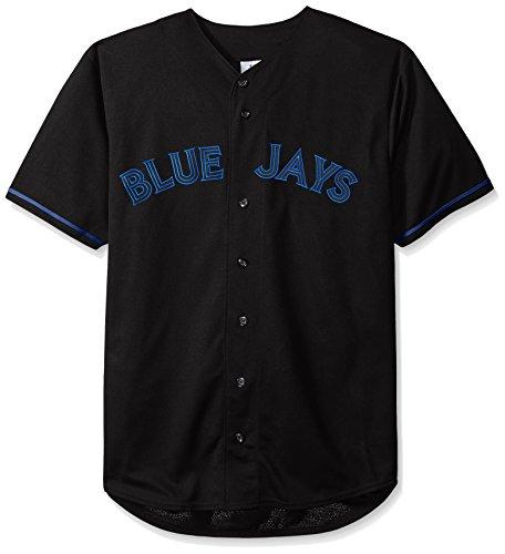 MLB Toronto Blue Jays Herren Short Sleeved Textur Replica Jersey mit Pop Aufnäher, 3x, schwarz
