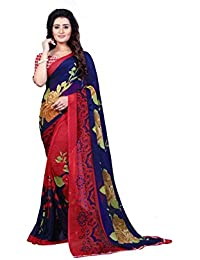 Kashvi Sarees Faux Georgette Printed Blue Color With Blouse Piece ( 1336 )