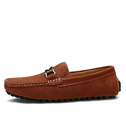 Minitoo Men's Round Toe Rindsleder zum Casual Slipper Braun