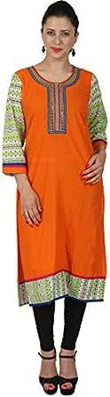 Saachi Women's Cotton Regular Fit Kurta (Rv1120-X-Large, Orange, X-Large)