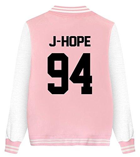 ShallGood Damen Jacke Blouson BTS Fans Sweatshirt Sweatjacke Baseball Uniform Langarm Stehkragen Tops Coat Bomberjacke Bikerjacke Reißverschluss Outerwear Kurzjacke J-HOPE-94 Rosa DE 48