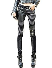 fb359ee4c4 Idopy Pantalones de Cuero de Las Mujeres Slim Fit Pantalones de PU Leggings  con Bolsillos