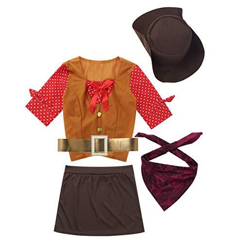 Agoky Kinder Mädchen Western Cowgirl Kostüm Halloween Cosplay Outfit Polka Dots Halbarm Tops mit Minirock Hut Bandana Gürtel Gelb&Braun 128-140/8-10Jahre
