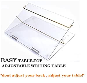 Ofiz - Premium Acrylic Table Top - Elevator Writing Desk Transparent clear With Adjustable Height (Standard size: 21 x 14.5 inches approx. )