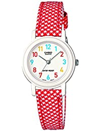 Casio LQ-139LB-4BER Junior Collection Red and White Leather Cloth Strap Watch