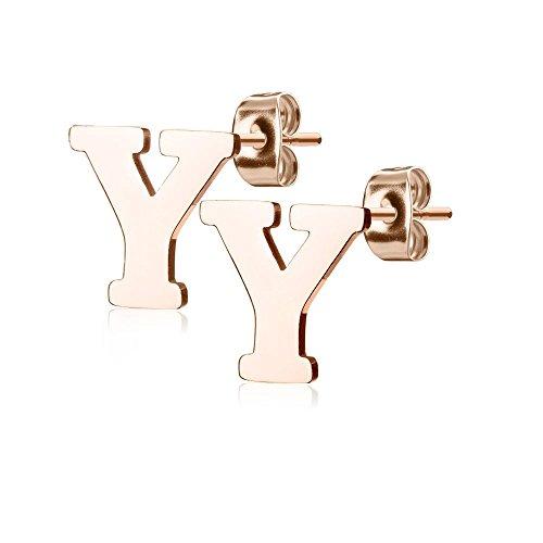 Bungsa BUCHSTABE Y Ohrstecker Rosegold - BUCHSTABEN Y Ohrring in Rosegold - Alphabet Ohrringe zum Stecken - aus Edelstahl - Ohrschmuck für Damen, Kinder & Herren