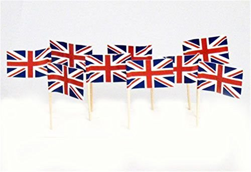 MikMiky 200 Pcs UK Flag On Stick, Cupcake TopperUnion Jack Flag Cocktail Sticks, British UK United Kingdom The Royal Wedding Prince Harry and Meghan Markle Queen Street Tea Party Celebrations