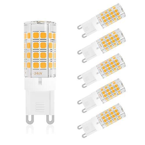 DiCUNO 4W G9 LED Lampe, 450 Lumen, 3000k Warmweiß, Nicht Dimmbar 360 Grad Winkel, Ersatz für 40W Halogenlampe, 6er Pack -