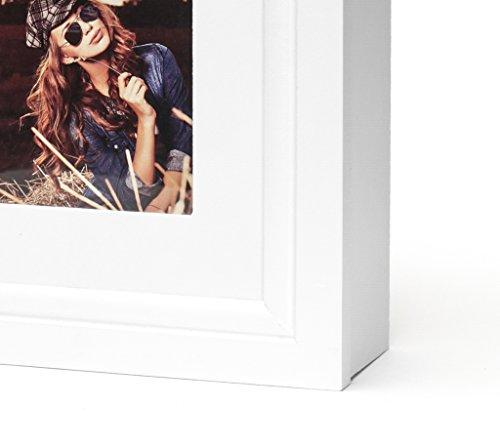 Schmuckkasten Fotorahmen Bilderrahmen Spiegel in weiß für 5 Fotos - 45x32x7cm Schmuckaufbewahrung Dekoration Deko Ringhalter Schmuckschrank Fotogalerie Collage Fotocollage - 4