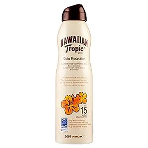 HAWAIIAN Tropic Satin Protection Continous Spray SPF 15 – Bruma Solar Protectora de Absorción Rápida, Protección Solar No Grasa, 220 ml, Crema