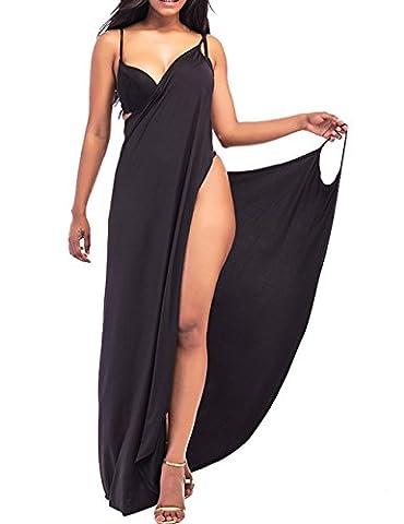 EMMA Femme Sexy V-Col Dos Nue Couleur Solide Sarong Cape Châle Robe Longue Plage Bikini Couverte S-XXL(BL,2XL)