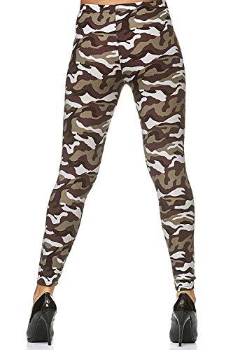 samtweiche Damen Leggings mit Muster - new styles - Leggins Sport Sterne bunt sexy tarnmuster (Tarn olive)