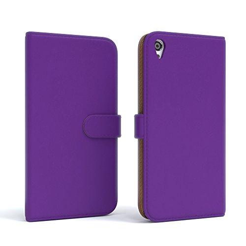 Sony Xperia Z3 Hülle - EAZY CASE Premium Flip Case Handyhülle - Schutzhülle aus Leder in Braun Lila (Book)