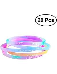 ac525234d972 STOBOK 20 piezas de silicona de moda coloridas pulseras pulseras Bandas  personalizadas favores de partido perfecto
