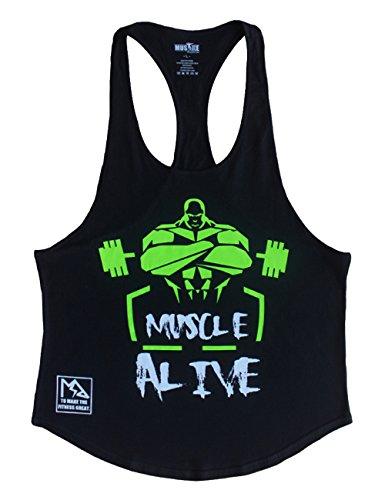 Musclealive Musclealive Herren Bodybuilding Tank Tops Hemden Baumwolle Fitness Stringer Sport Shirts Achselshirts